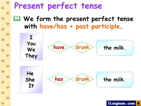 Present perfect tense  We form the present perfect tense with have/has + past participle. I You We They the milk. have drunk He She It the milk. has.