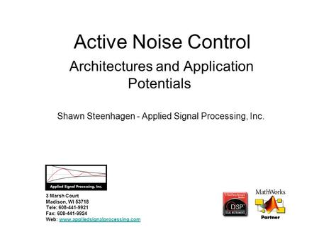 Active noise control thesis