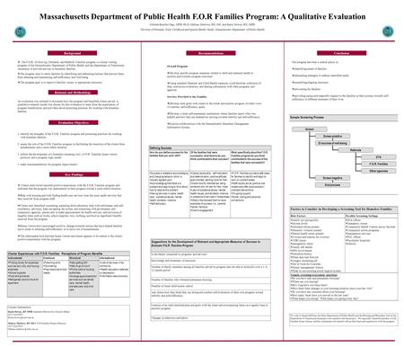 Massachusetts Department of Public Health F.O.R Families Program: A Qualitative Evaluation Zobeida Bonilla-Vega, MPH, Ph D, Melissa Marlowe, RN, MS, and.