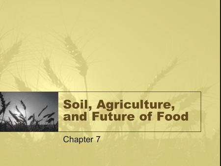 <strong>Soil</strong>, Agriculture, <strong>and</strong> Future of Food Chapter 7. Chapter outline Feeding 7 Billion-Agriculture Practices, Past, Present <strong>and</strong> Future <strong>Soil</strong>-Structure, Formation,