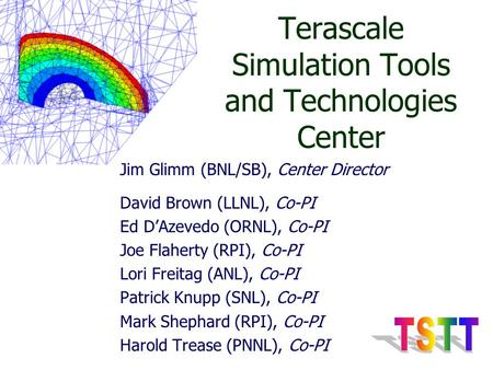 Terascale Simulation Tools and Technologies Center Jim Glimm (BNL/SB), Center Director David Brown (LLNL), Co-PI Ed D'Azevedo (ORNL), Co-PI Joe Flaherty.