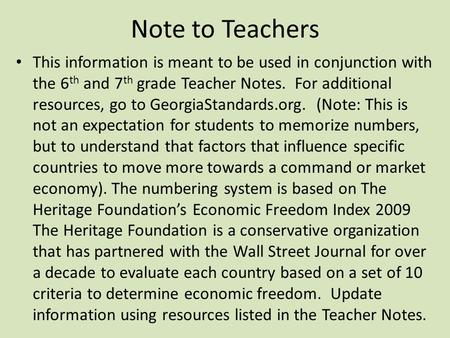 Note to Teachers This information is meant to be used in conjunction with the 6 th and 7 th grade Teacher Notes. For additional resources, go to GeorgiaStandards.org.