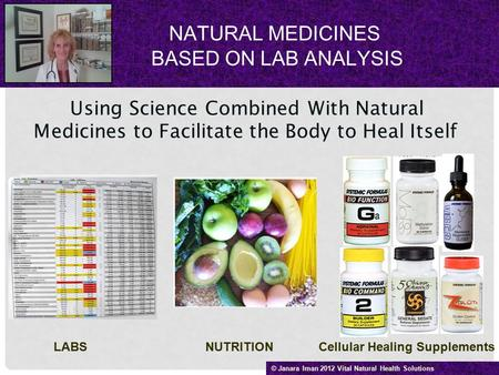 NATURAL MEDICINES BASED ON LAB ANALYSIS Using Science Combined With Natural Medicines to Facilitate the Body to Heal Itself LABS NUTRITION Cellular Healing.
