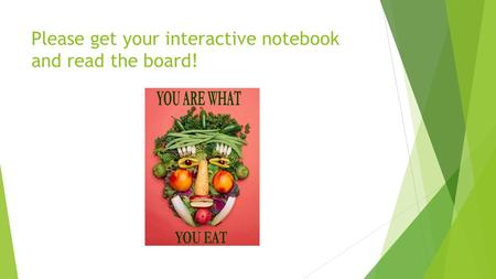 Please get your interactive notebook and read the board!
