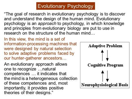 """The goal of research in evolutionary psychology is to discover and understand the design of the human mind. Evolutionary psychology is an approach to."