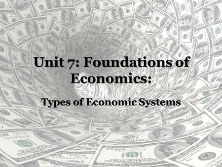 Unit 7: Foundations of Economics: