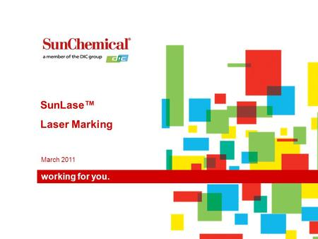 Working for you. March 2011 SunLase™ Laser Marking.