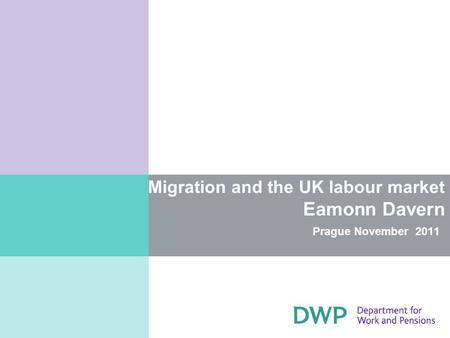 Migration and the UK labour market Eamonn Davern Prague November 2011.