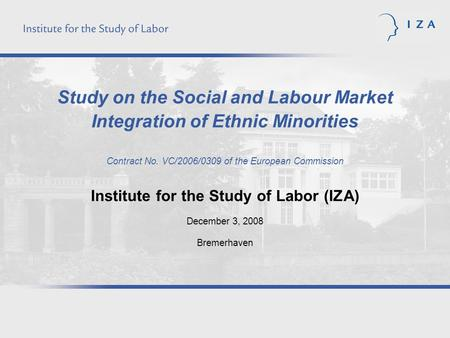 Study on the Social and Labour Market Integration of Ethnic Minorities Contract No. VC/2006/0309 of the European Commission Institute for the Study of.