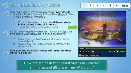 You did a great job learning about Maryland ! Now it is time to learn about other states in the United States of America. states 1.Watch the video about.