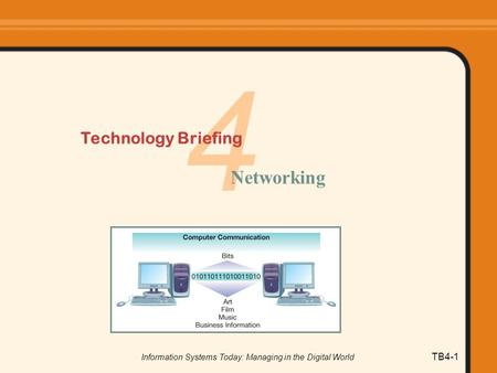 Information Systems Today: Managing in the Digital World TB4-1 4 Technology Briefing Networking.