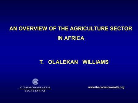 AN OVERVIEW OF THE AGRICULTURE SECTOR IN AFRICA T. OLALEKAN WILLIAMS www.thecommonwealth.org.