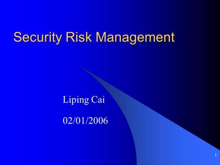 1 Security Risk Management Liping Cai 02/01/2006.