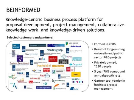 BEINFORMED Knowledge-centric business process platform for proposal development, project management, collaborative knowledge work, and knowledge-driven.