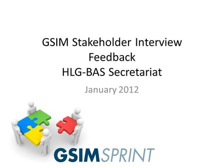 GSIM Stakeholder Interview Feedback HLG-BAS Secretariat January 2012.