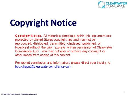 4/20/2017 Copyright Notice Copyright Notice. All materials contained within this document are protected by United States copyright law and may not be.