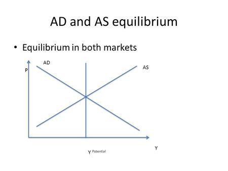 AD and AS equilibrium Equilibrium in both markets P Y AD AS Y Potential.