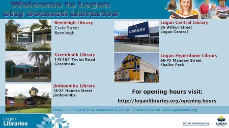 Logan North Library 2 - 6 Sports Drive, Underwood QLD 4119 Phone 3412 4140 www.loganlibraries.org Beenleigh Library Crete Street Beenleigh Jimboomba Library.