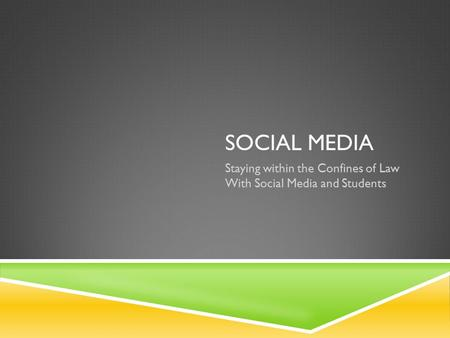 SOCIAL MEDIA Staying within the Confines of Law With Social Media and Students.