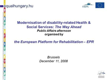 1 Modernisation of disability-related Health & Social Services: The Way Ahead Public Affairs afternoon organised by the European Platform for Rehabilitation.