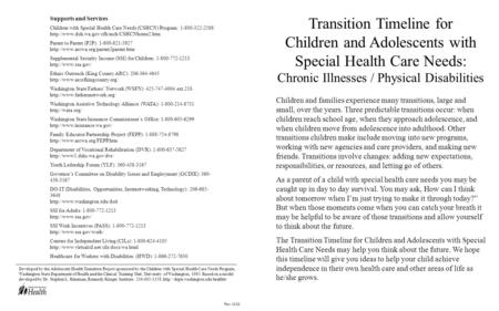 Transition Timeline for Children and Adolescents with Special Health Care Needs: Chronic Illnesses / Physical Disabilities Children and families experience.