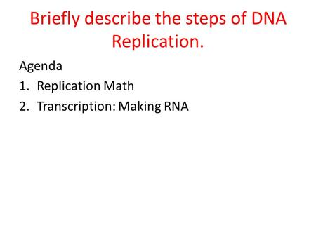 Briefly describe the steps of DNA Replication.