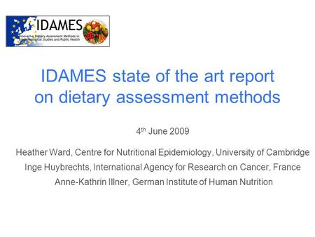 IDAMES state of the art report on dietary assessment methods