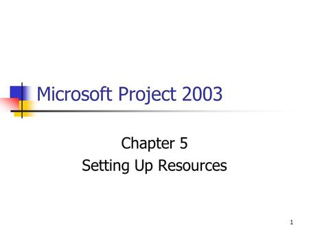 1 Microsoft Project 2003 Chapter 5 Setting Up Resources.