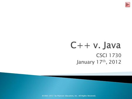 CSCI 1730 January 17 th, 2012 ©1992-2012 by Pearson Education, Inc. All Rights Reserved.