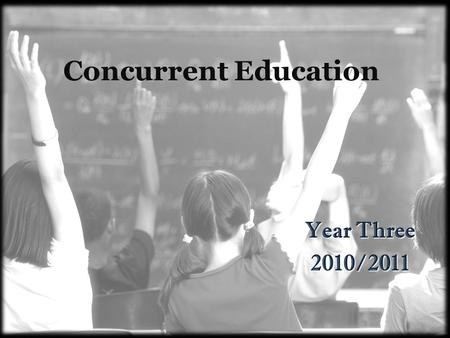 Concurrent Education Year Three 2010/2011. Practice Teaching February 22-25, 2011 May 2-13, 2011 Mark on your calendar.