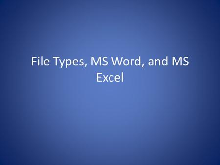 File Types, MS Word, and MS Excel. File Types/Extensions.doc Microsoft Word Document Name that file extension!