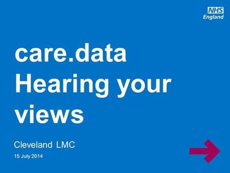 Www.england.nhs.uk Cleveland LMC care.data Hearing your views 15 July 2014.