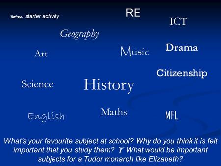  starter activity What's your favourite subject at school? Why do you think it is felt important that you study them?  What would be important subjects.