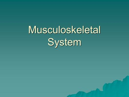Musculoskeletal System. Functions  Movement  Shape of body.