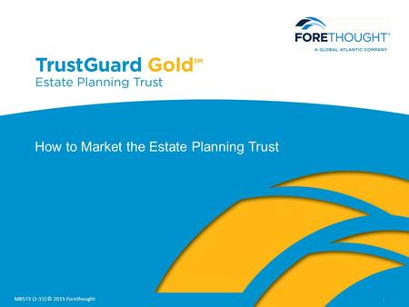 1 How to Market the Estate Planning Trust M8573 (2-15) © 2015 Forethought.