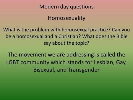 The scientific problem of homosexuality