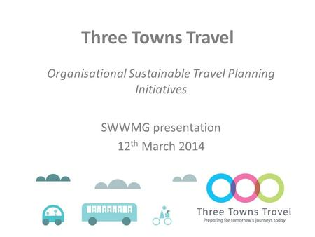 Three Towns Travel Organisational Sustainable Travel Planning Initiatives SWWMG presentation 12 th March 2014.