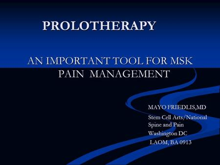 AN IMPORTANT TOOL FOR MSK PAIN MANAGEMENT