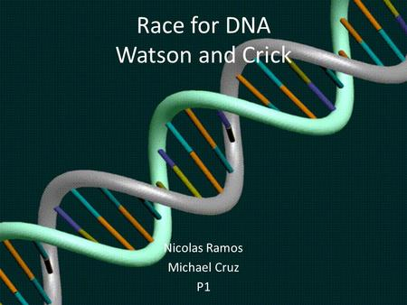 Race for DNA Watson and Crick Nicolas Ramos Michael Cruz P1.