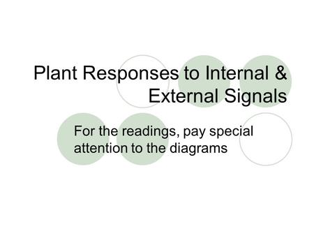 Plant Responses to Internal & External Signals For the readings, pay special attention to the diagrams.