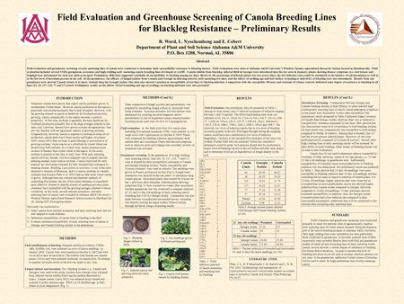 Field Evaluation and Greenhouse Screening of Canola Breeding Lines for Blackleg Resistance – Preliminary Results R. Ward, L. Nyochembeng and E. Cebert.