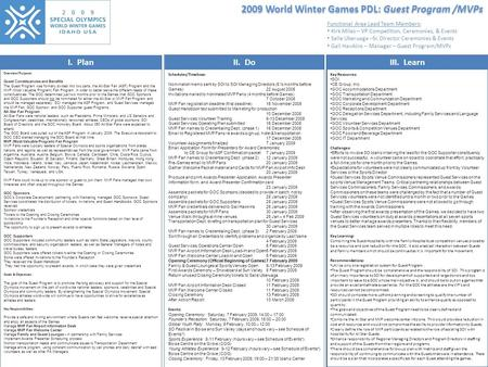 2009 World Winter Games PDL: Guest Program /MVPs I. PlanII. DoIII. Learn Overview/Purpose: Guest Constituencies and Benefits The Guest Program was formally.