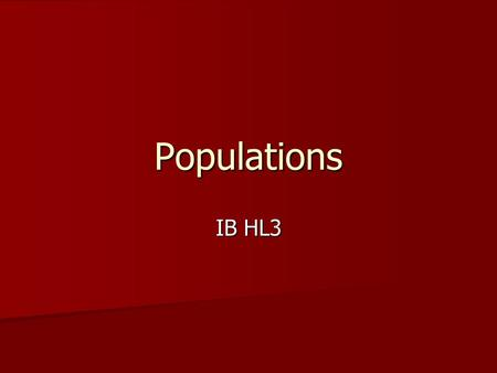 Populations IB HL3. Today's Standards 5.3.1- Outline how population size is affected by natality, immigration, mortality, and emigration. 5.3.1- Outline.