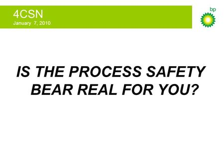 4CSN January 7, 2010 IS THE PROCESS SAFETY BEAR REAL FOR YOU?