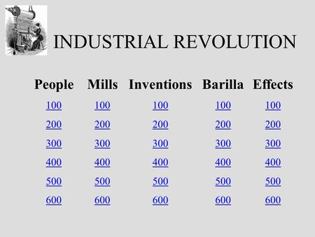 INDUSTRIAL REVOLUTION People 100 200 300 400 500 600 Mills 100 200 300 400 500 600 Inventions 100 200 300 400 500 600 Barilla 100 200 300 400 500 600 Effects.