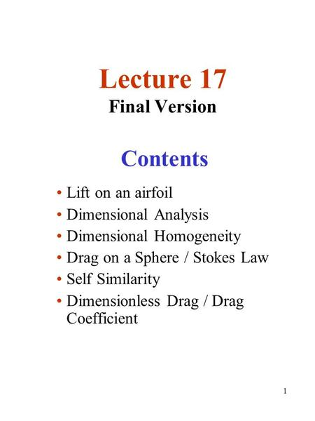 Lecture 17 Final Version Contents Lift on an airfoil