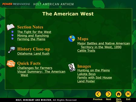 The American West Section Notes Maps History Close-up Quick Facts