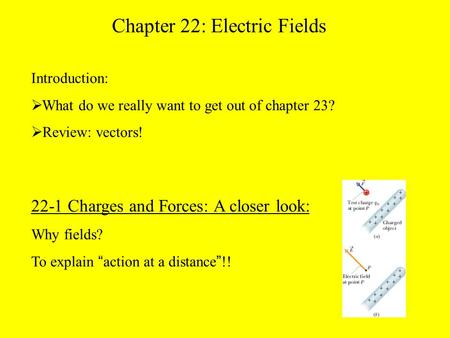 "22-1 Charges and Forces: A closer look: Why fields? To explain "" action at a distance "" !! Chapter 22: Electric Fields Introduction:  What do we really."