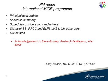 PM report International MICE programme Principal deliverables Schedule summary Schedule considerations and drivers Status of SS, RFCC and EMR, LH2 & LiH.