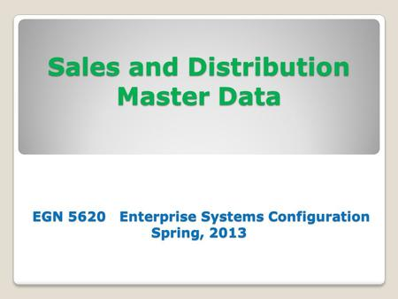 Sales and Distribution Master Data EGN 5620 Enterprise Systems Configuration Spring, 2013.